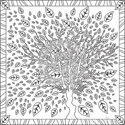 coloring page book for adults square format tree leaves