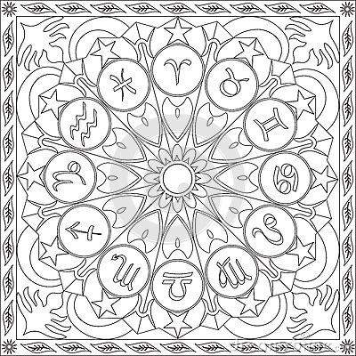 Coloring Page Book For Adults Square Format Zodiac Signs