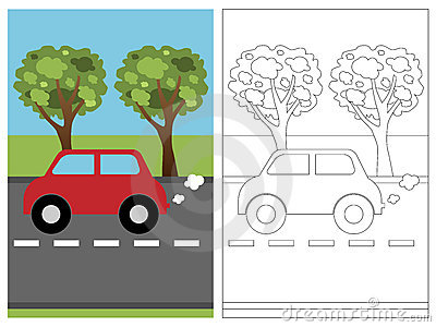 Coloring Page Book Car Stock