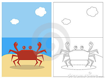 Coloring page book - crab