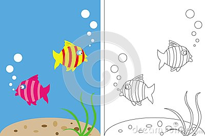 Fish Underwater Drawing Book For Kids - Fish Stock