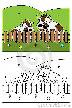 Free Coloring Page Book For Kids - Cow Stock Images - 14558404
