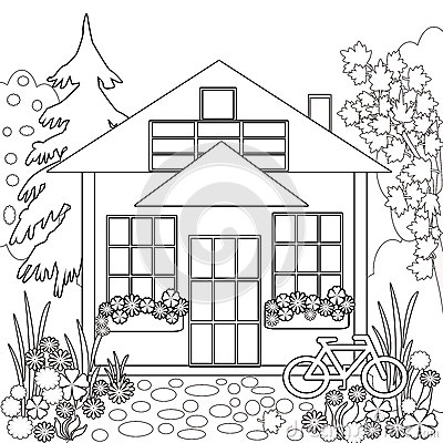 House With Garden Coloring Page erikhanseninfo