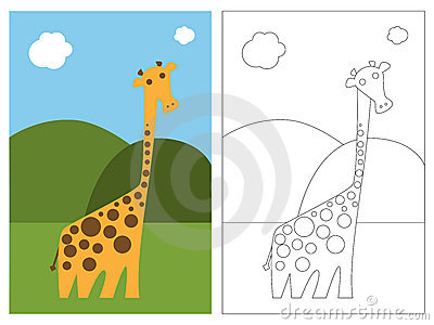 Coloring page book - giraffe