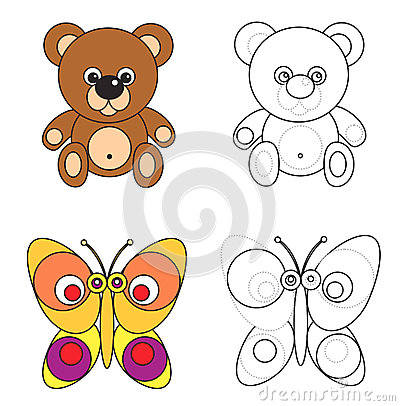 Coloring page book for kids - bear and butterfly