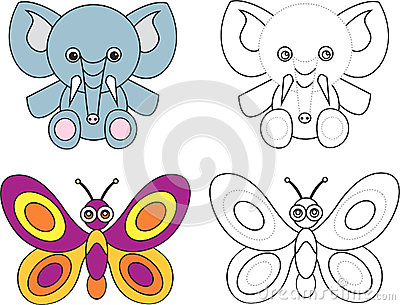 Coloring page book for kids - elephant butterfly
