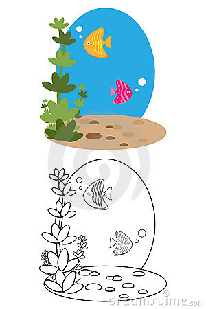 Coloring page book for kids - fish