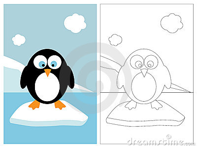 Coloring page book - penguin