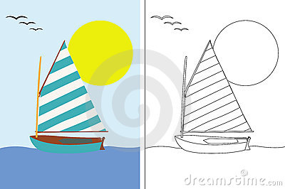 Coloring page book with sailing boat