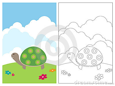 Coloring page book - turtle