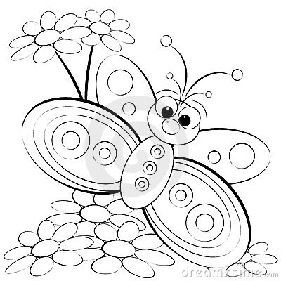 Free Coloring Page - Butterfly And Daisy Royalty Free Stock Photos - 9765398