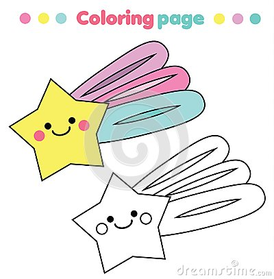 Free Coloring Page. Educational Children Game. Cute Star. Drawing Kids Printable Activity. Royalty Free Stock Images - 114055509
