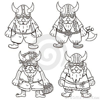 Coloring page with four cute Vikings