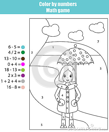 coloring page with girl color by numbers math children educational game for school years kids
