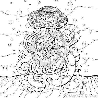 Finished Adult Coloring Pages Jellyfish Coloring Pages