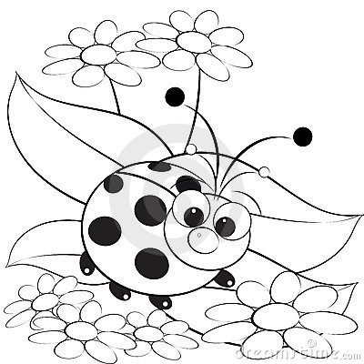 Free Coloring Page - Ladybug And Daisy Stock Photography - 9765442