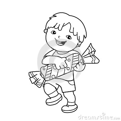 Coloring Page Outline Of cartoon boy with with candy. Coloring book for kids. Vector Illustration