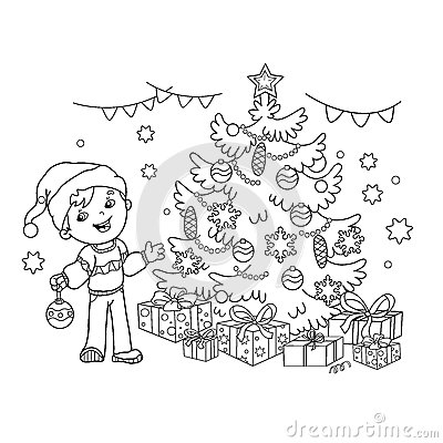 Coloring Page Outline Of cartoon boy decorating the Christmas tree. Christmas. New year. Vector Illustration