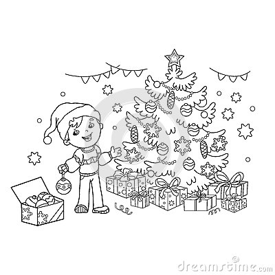Coloring Page Outline Of cartoon boy decorating the Christmas tree with ornaments and gifts. Christmas. New year Vector Illustration