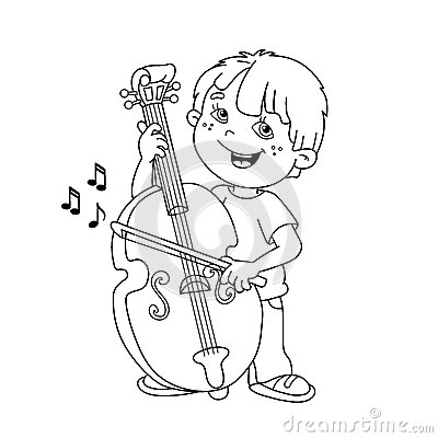Coloring Page Outline Of Cartoon Boy Playing The Cello. Vector ...