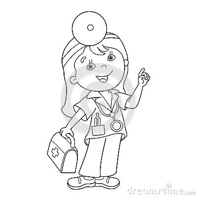 coloring page outline of cartoon doctor with first aid kit stock vector image 73292412 - Aid Coloring Pages Kids