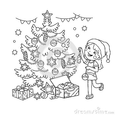 Coloring Page Outline Of Cartoon Girl Decorating The Christmas Tree