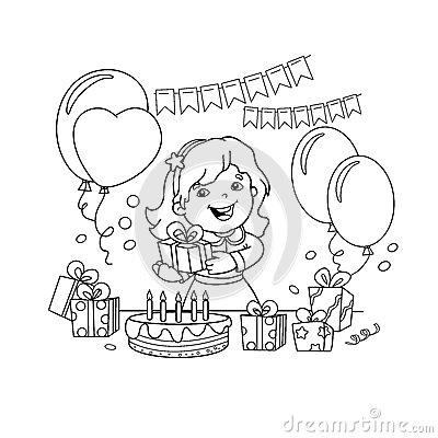 Coloring Page Outline Of cartoon girl with a gift at the holiday. Coloring book for kids. Vector Illustration