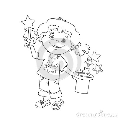 Magic Coloring Book Download Page Outline Of Cartoon Girl Showing The Trick Stock