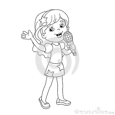 Coloring Page Outline Of Cartoon Girl Singing A Song Stock