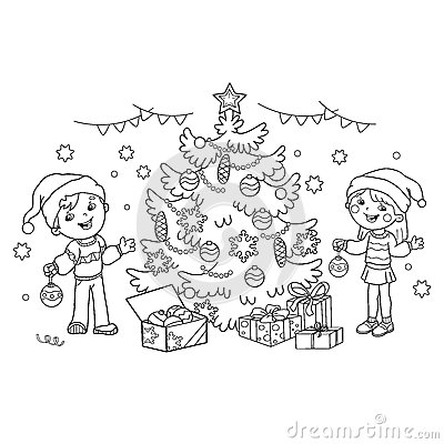 Coloring Page Outline Of children decorate the Christmas tree with ornaments and gifts. Vector Illustration
