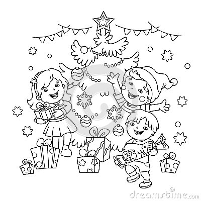 Coloring Page Outline Of children with gifts at Christmas tree. Vector Illustration