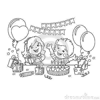 Coloring Page Outline Of children with a gifts at the holiday. Birthday. Coloring book for kids. Vector Illustration