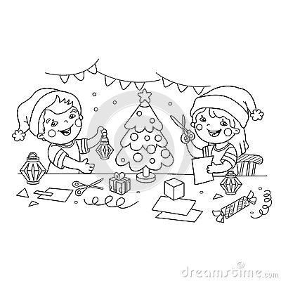 Coloring Page Outline Of children make paper Christmas lanterns. Christmas. New year. Coloring book for kids. Vector Illustration