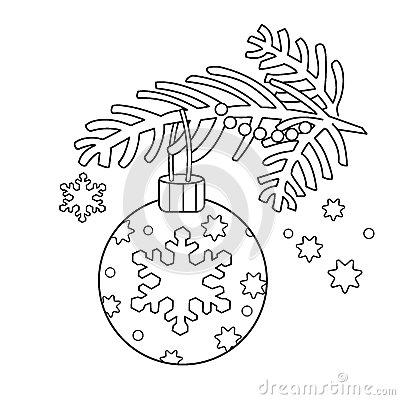 Coloring Page Outline Of Christmas decoration. Christmas tree branch. New year. Coloring book for kids. Vector Illustration