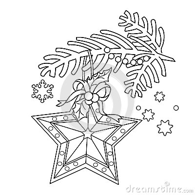 Coloring Page Outline Of Christmas decoration. Star. Christmas tree branch. New year. Coloring book for kids. Vector Illustration