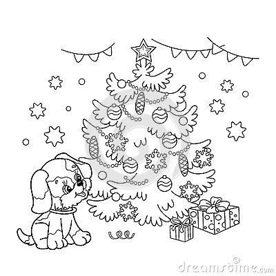Coloring Page Outline Of Christmas tree with ornaments and gifts with puppy. The year of the dog. Christmas. New year Vector Illustration