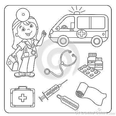 First Aid Kit Coloring Pages Page Outline Of Doctor Set Medical Instruments Stock
