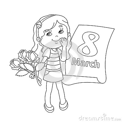 International womens day coloring pages ~ Coloring Page Outline Of Girl With Flowers. March 8. Stock ...
