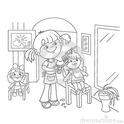 Coloring Page Outline Of Girl With Playing In The Barber ...