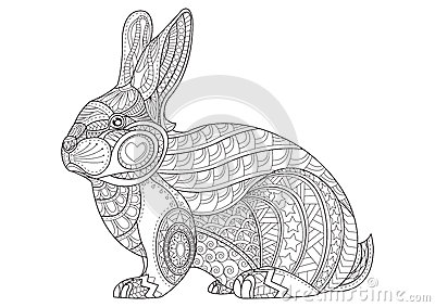 Coloring Page Rabbit Hand Drawn
