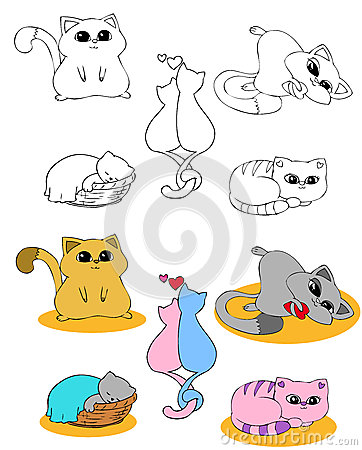 Coloring page set CATS