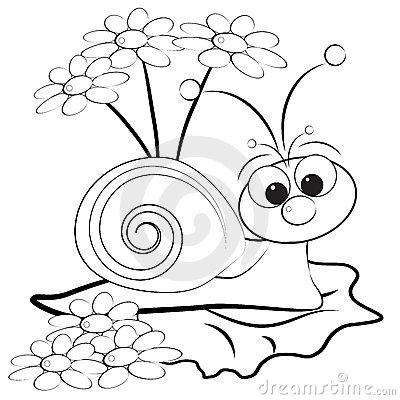 Free Coloring Page - Snail And Daisy Royalty Free Stock Photography - 9765477