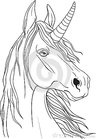 Coloring Page With Unicorns Portrait Stock Vector Image