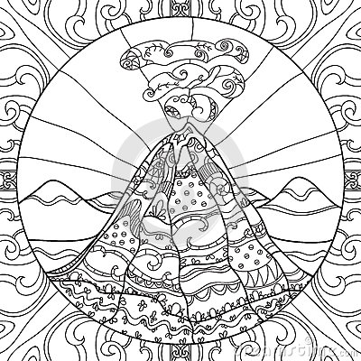 Coloring Page With Volcano Stock Vector Image 62644560