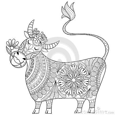 Free Coloring Page With Cow, Zenart Stylized Hand Drawing Milker Illu Royalty Free Stock Photography - 70932047