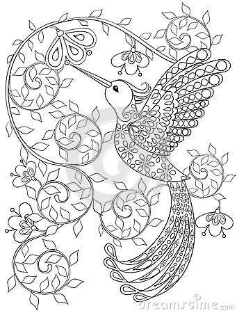 Free Coloring Page With Hummingbird, Zentangle Flying Bird  For Adult Stock Image - 61159671