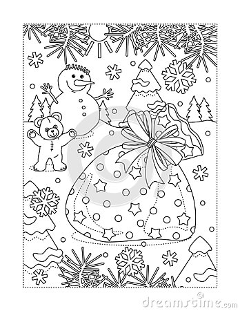 Free Coloring Page With Santa`s Sack Full Of Presents Stock Photos - 133023853
