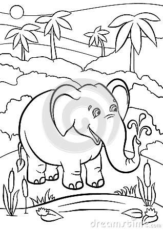 Coloring pages. Animals. Cute elephant. Vector Illustration