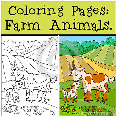 Free Coloring Pages: Farm Animals. Mother Goat With Her Baby. Stock Photos - 73498123