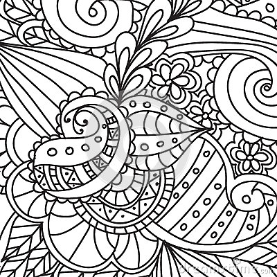 Free Coloring Pages For Adults.Decorative Hand Drawn Doodle Nature Ornamental Curl Vector Sketchy Seamless Pattern. Stock Images - 86319564